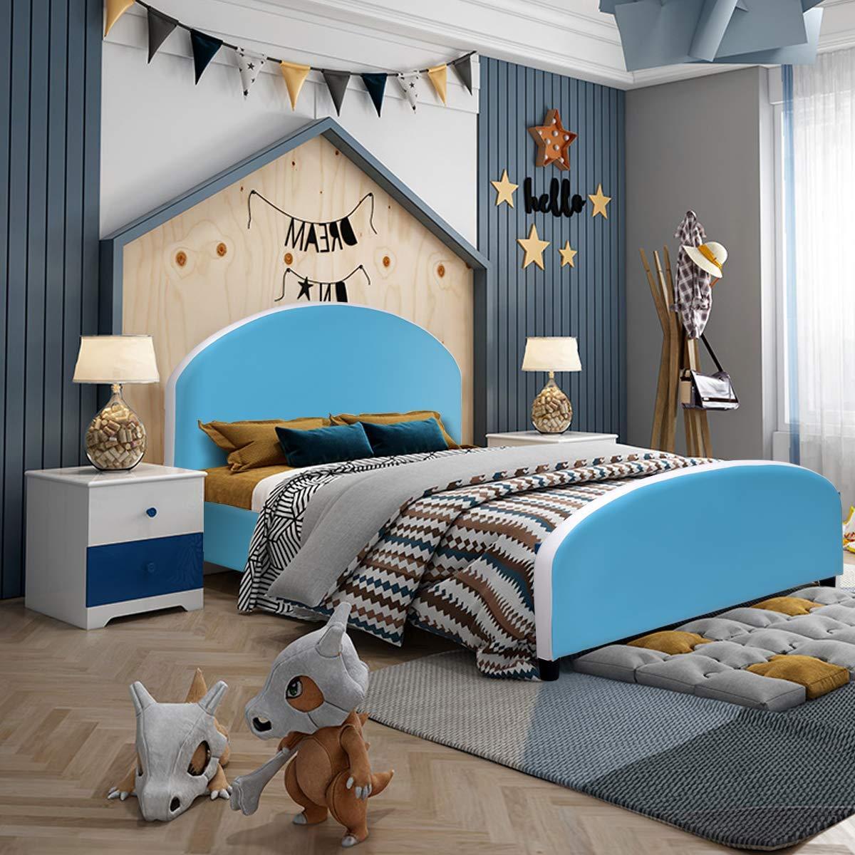 Amazon Com Costzon Toddler Bed Upholstered Platform Bed W Wood