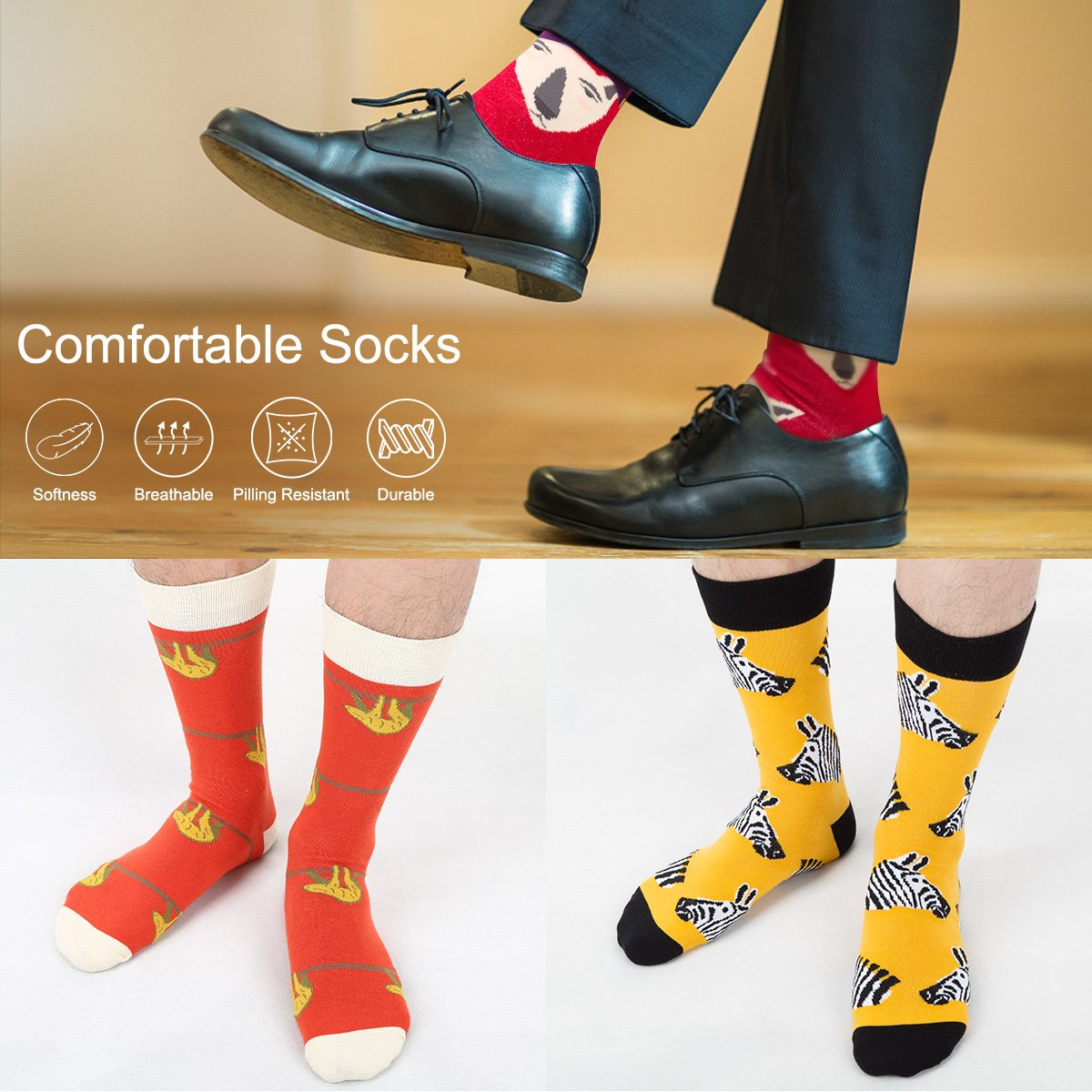 ,EU 42-45,by Tutast Mens Fun Dress Socks Colorful Fancy Novelty Funny Casual Combed Cotton Crew Socks Animal 3 Pack