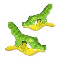 SolClip Gator Beach Towel Clips Pinces à Serviette de Plage (Set of 2), Green Yellow