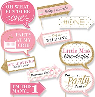 product image for Big Dot of Happiness Funny 1st Birthday Girl - Fun to be One - First Birthday Party Photo Booth Props Kit - 10 Piece