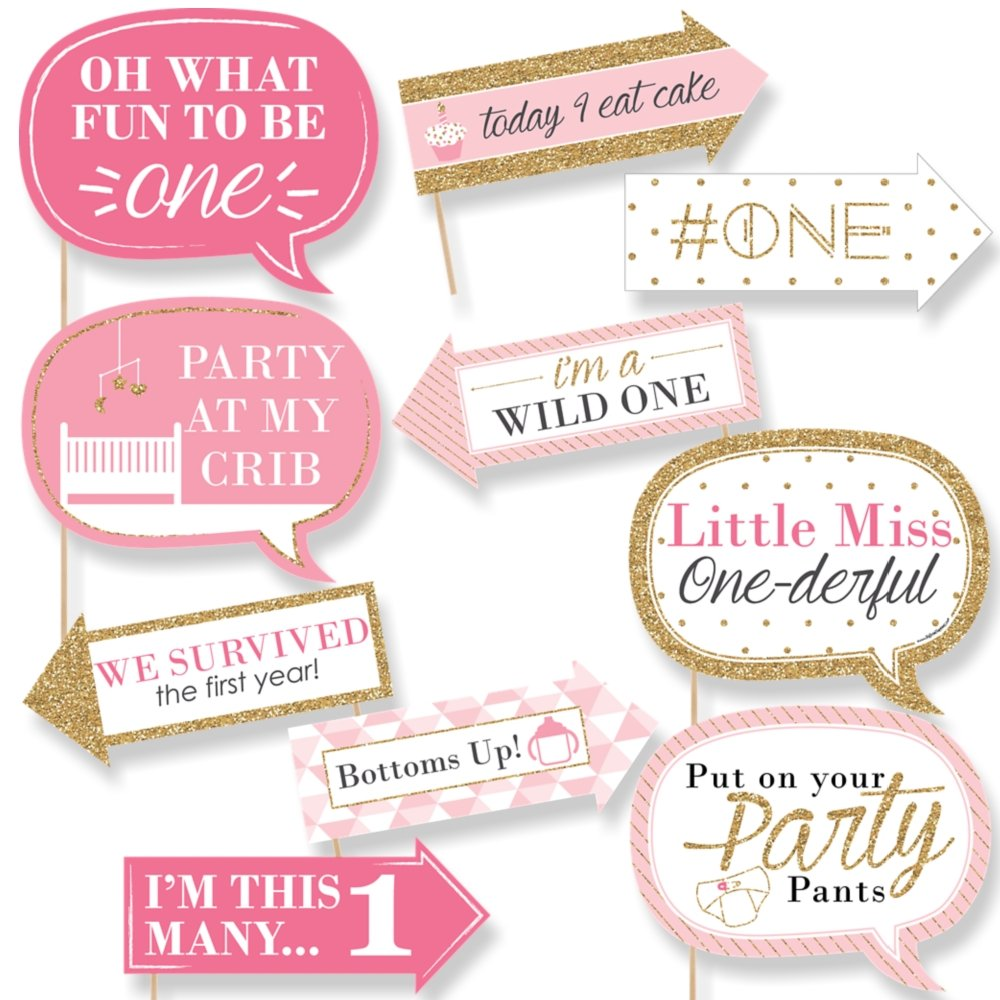 Funny 1st Birthday Girl - Fun to be One - First Birthday Party Photo Booth Props Kit - 10 Piece