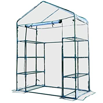 Outsunny 4 Tiers 8 Shelves Metal Frame Walk in Portable Greenhouse ...