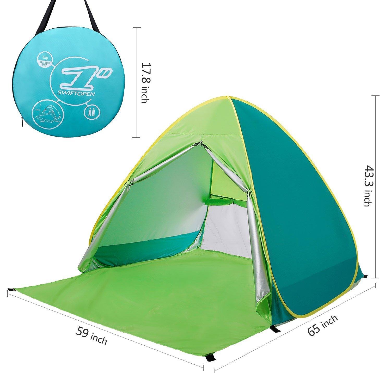 Neuf avec fermeture à glissière Porte Pop Up Portable Tente de plage extérieur anti UV Plage Abat-jour Tente Abri Soleil, automatique instantanée Famille Cabana pour camping Plage Pêche Jardin kingkindsun