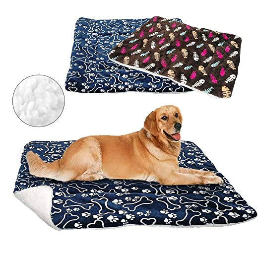 Amazon.com : MHGStore Dog Bed Mat Pet Cushion Blanket Warm Paw Print Puppy Cat Fleece Beds for Small Large Dogs Cats Pad Chihuahua Cama Perro (106x77cm, ...