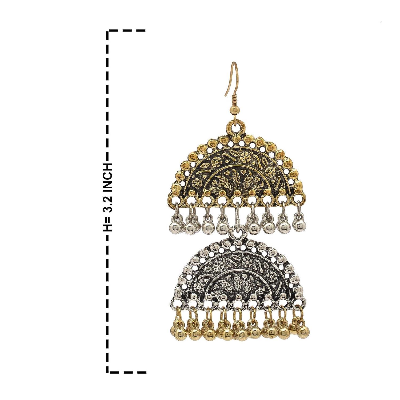 Zephyrr Ethnic Drop Earrings Gold Tone Casual Daily Wear Statement Jewelry For Women, JAE-3401