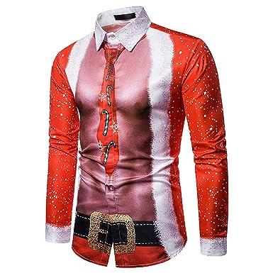 CLOOM Ugly Christmas Sweater Divertido Navidad Camiseta Hombre Original Manga Larga Blusa Casual Camisa De Botones Santa y Nieve Alces Tops para Otoño e Inviern Navideño Nochebuena: Amazon.es: Ropa y accesorios