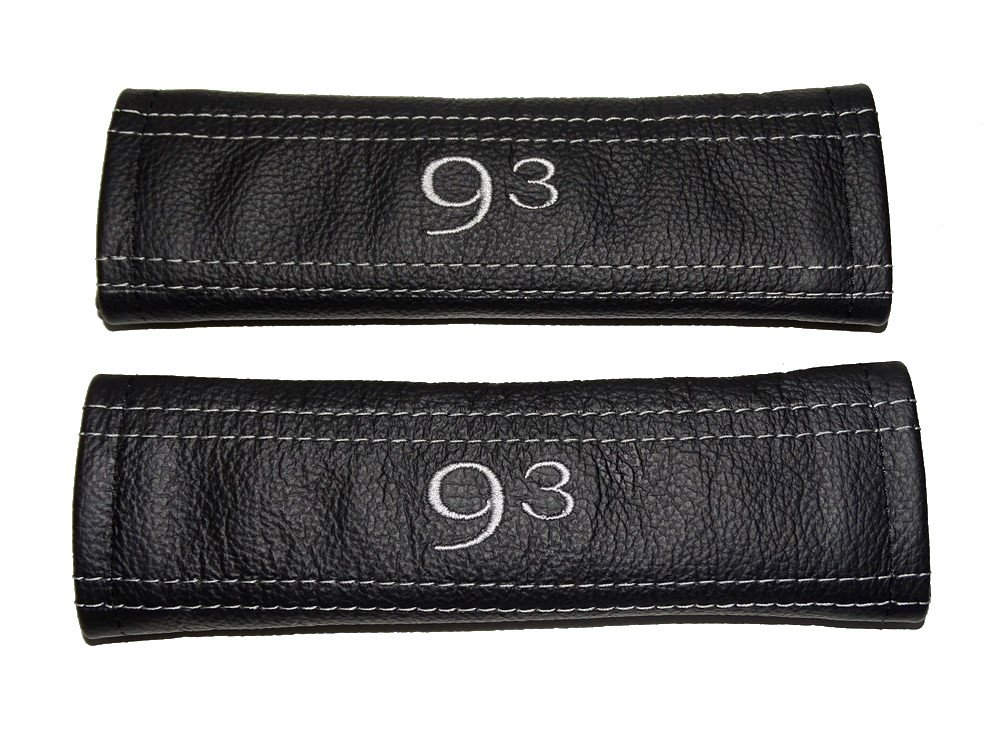 Seat Belt Shoulders Covers Black Leather Grey '93' Embroidery The Tuning-Shop Ltd