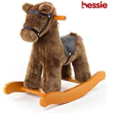 Hessie Modern Plush Rocking Horse with Soft Cute Stuffed Animal, Indoor Ride On Toys Rockers for Toddlers Kids Little Boys & Girls (6-36 Months) - Knight Horse