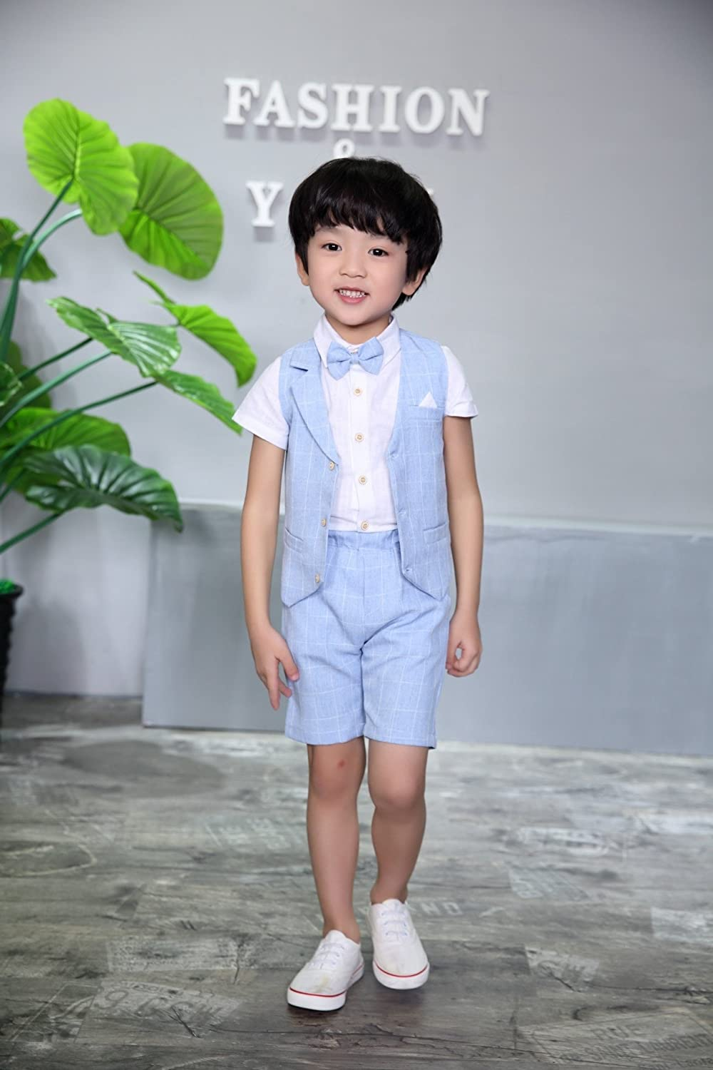 f4841ed70 DREAMOWL 4 pcs Toddler Boy Summer Wedding Cotton/Linen Blend Kids Vest Short  Set larger image