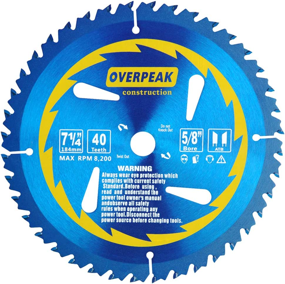 OVERPEAK 7-1/4 Inch 40 Tooth Framing Carbide Saw Blade  with 5/8 Inch Arbor and PermaShield Coating
