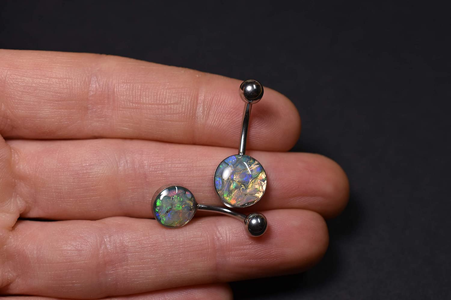 Natural Real Gemstone Jewelry Golden Raw Opal Belly Button Barbell Ring