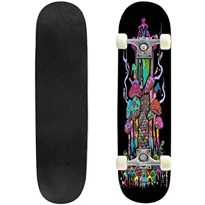 "Cuskip Night Climbing Skateboard Complete Longboard 8 Layers Maple Decks Double Kick Concave Skate Board, Standard Tricks Skateboards Outdoors, 31""x8"" : Sports & Outdoors"