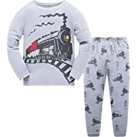 Toddler Boys Pajamas Fire Truck 100% Cotton Kids Train 2 Piece Pjs Sets Sleepwear Clothes Set 1-7 T