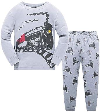 b1b37f4e1cbada Little Boys Train 2 Piece Pajamas Long Sleeve 100% Cotton PJS Sleepwear for  Kids