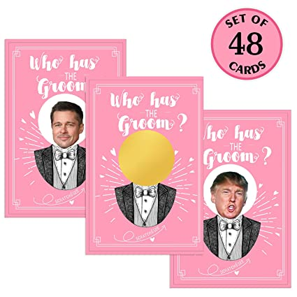 22a48af1566 Amazon.com  MORDUN Bridal Shower Games - Who Has the Groom Scratch off  Cards for 48 Guests - Funny Bachelorette Party Games Ideas  Toys   Games