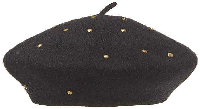Under Zero Women s Black Wool Beret Hat with Brass Studs  Amazon.ca ... cdc146a4762
