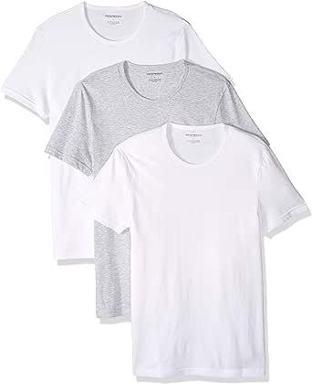 Emporio Armani Mens Cotton Crew Neck T-Shirt, 3-Pack Short Sleeve T-Shirt - Multi