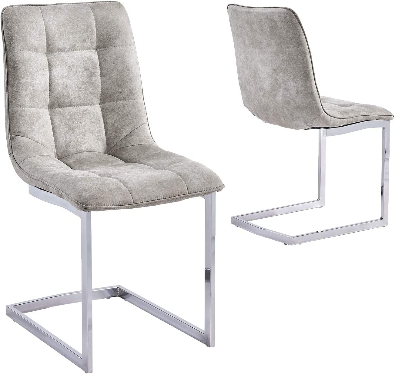 Gizza Set Of 4 Bone Grey Dining Chairs Microfiber Fabric Covers Comfort Seat On Chrome Legs Modern Kitchen Home Furniture Chairs Home Kitchen