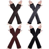 Bememo 4 Pairs Winter Long Fingerless Gloves Knitted Arm Warmer Elbow Length Gloves Thumb Hole Gloves for Women Girls