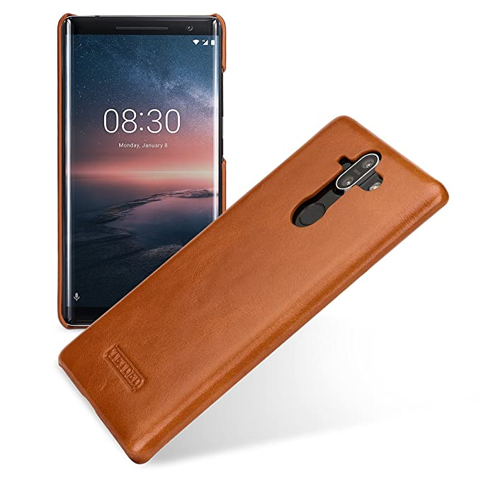 TETDED Premium Leather Case for Nokia 8 Sirocco Dual SIM, Snap Cover  (Vintage Brown)