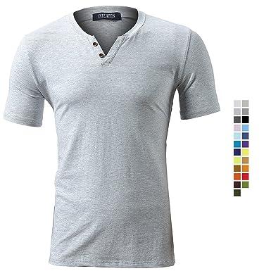 56fee03115b2 Herren T-Shirt Kurzarm Shirt Short Sleeve Top Tee Casual Basic O-Neck V-Neck  mit Knopf Knöpfe Rundhalsausschnitt Plain Regular Fit Frühling Sommer  Einfarbig ...