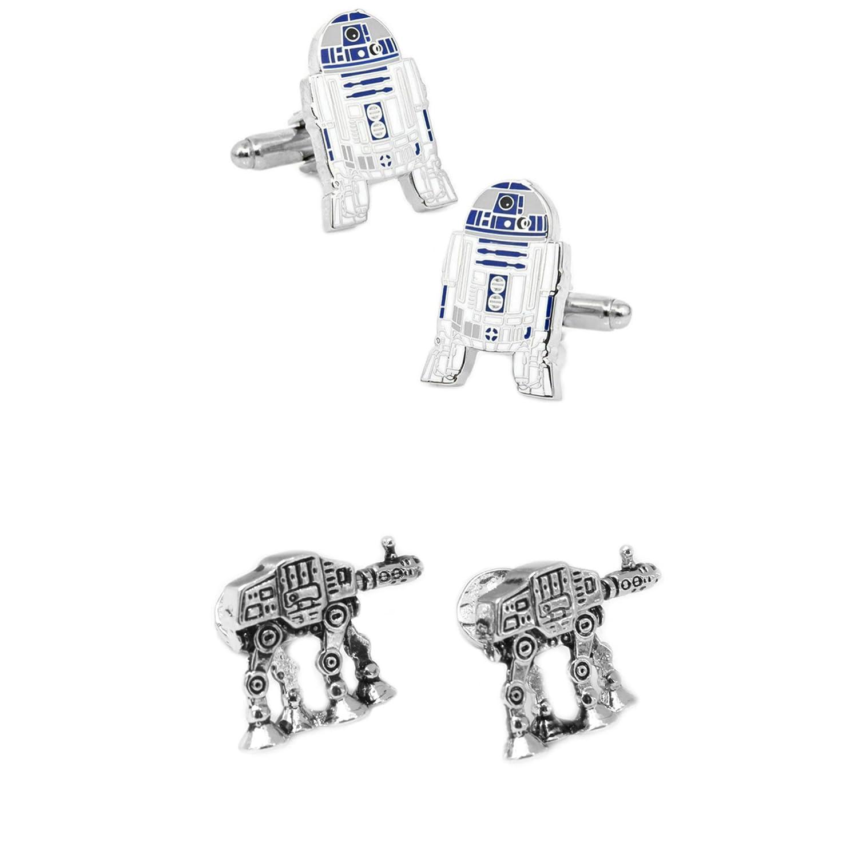 Star Wars 2 Pairs R2-D2 & AT Walker Superhero 2018 Movie Logos - Wedding Groom Groomsmen Mens Boys Cufflinks