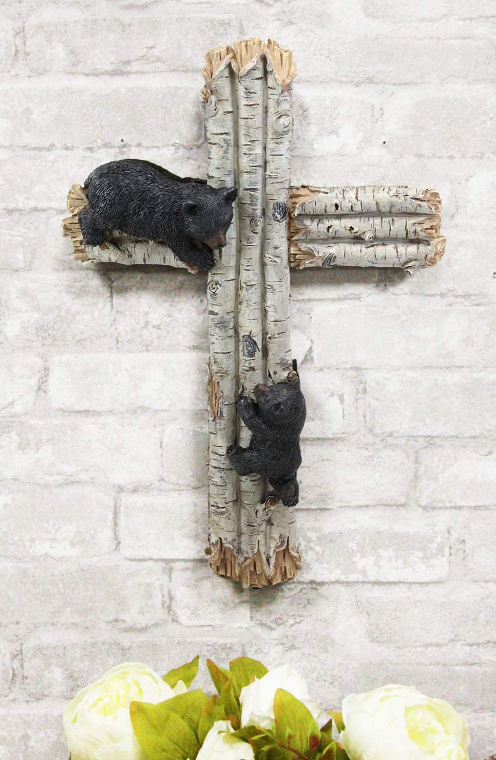 "Ebros Gift 17"" Tall Large Rustic Western 2 Playful Climbing Black Bears On Birch Tree Wall Cross Decor Hanging Sculpture Catholic Christian Country Bear Cubs Cabin Lodge Accent Decorative Crosses"
