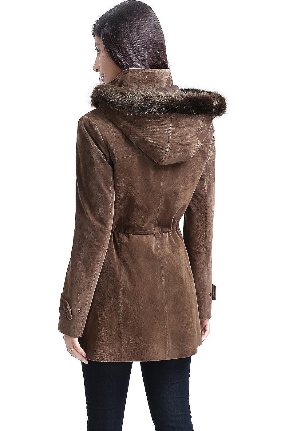Amazon.com: BGSD de la mujer chloe Ante de piel Parka Coat ...