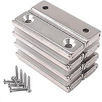 Magnetpro 8 imanes rectangulares 20 kg fuerza 40 x 13,5 x 5 mm con orificio avellanado y cápsula, imán en recipiente de…