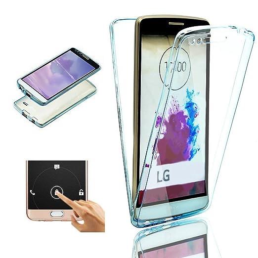 2ndSpring LG G4 Funda, 360 Grados Doble Delantera + Trasera De Gel Integral Silicona TPU Carcasa Case Cover para LG G4,Azul