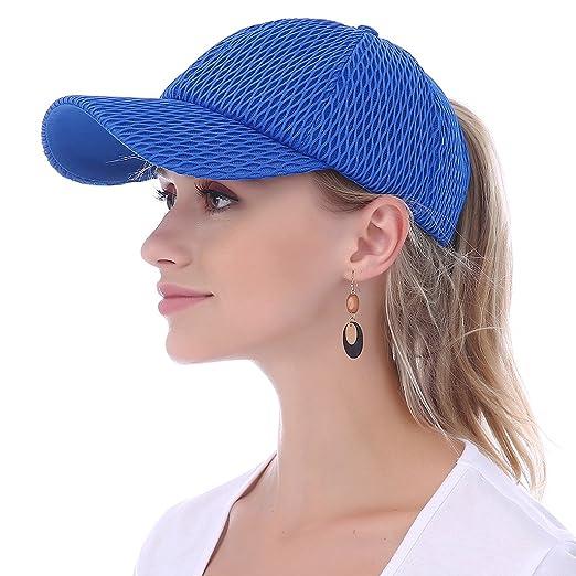 JAKY Global Women Ponytail Baseball Cap Messy Bun Adjustable Mesh Trucker  Sport Hats(Blue) de660a8564eb