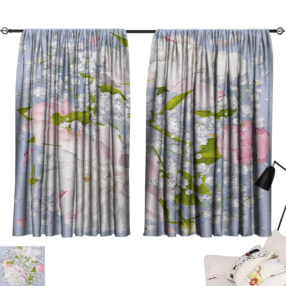 Josepsh-Flowers-Pattern-Darkening-Curtains-Romantic-Bridal-Bouquet-with-Peonies-Leaves-and-Gypsophila-Valentines-Day-Wedding-RoomBedroom-Multicolor-W72-x-L72