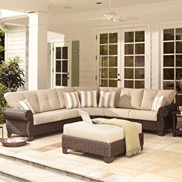 Sturdy Mill Valley 4 Piece Patio Sectional Set With Parchment Cushions