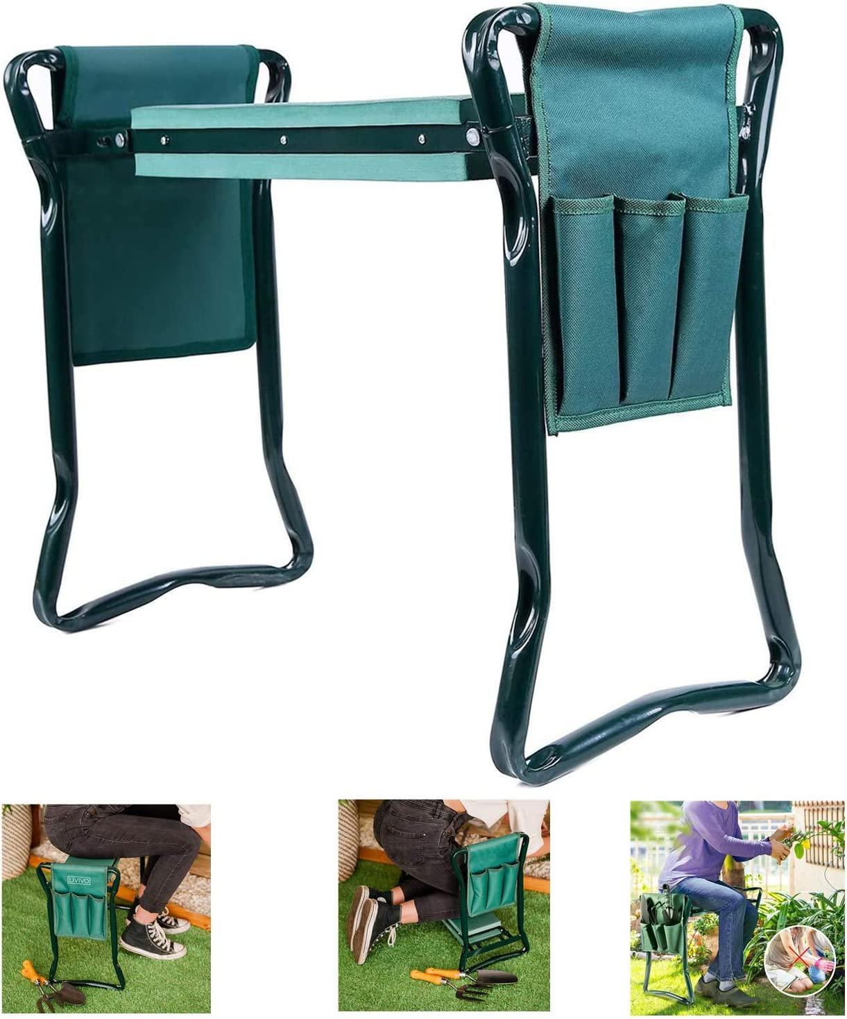 LISHAN Garden Kneeler and Seat with 2 Bonus Tool Pouches 2-in-1 Foldable, Portable Kneeler for Gardening Gardeners Garden Bench Garden Stools (Green)