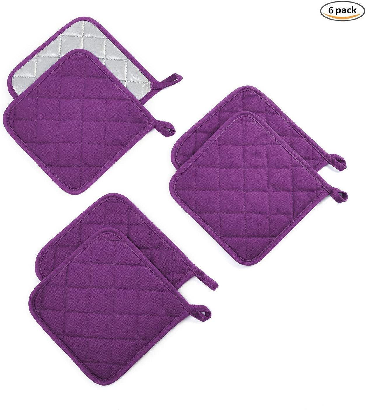 Jennice House Pot Holders Set Trivets Kitchen Heat Resistant Pure Cotton Coasters Hot Pads Potholders Set of 6 for Everyday Cooking and Baking by 7 x 7 Inch (Purple)