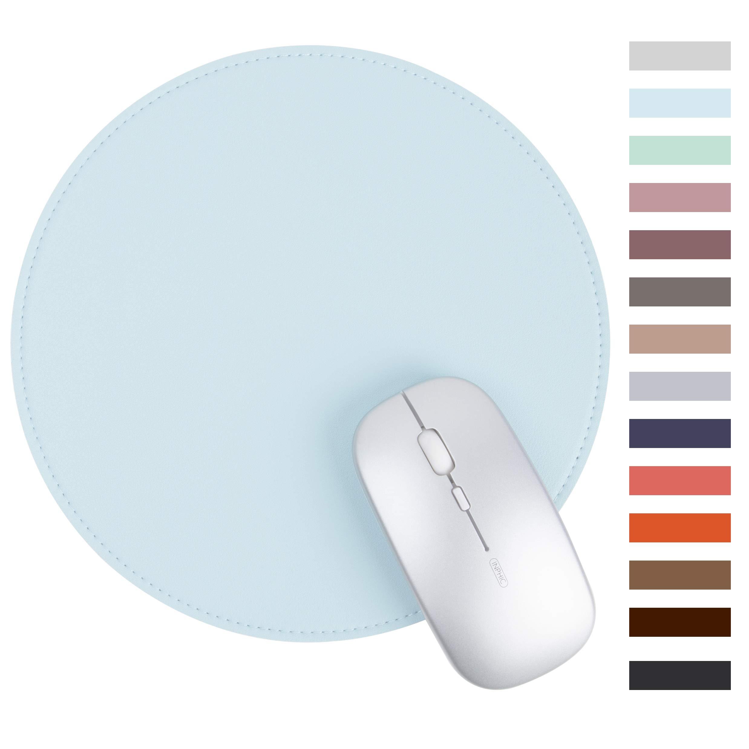 Mouse Pad Redondo Cuero Sintetico Borde Cocido LEAROL -8CRKX