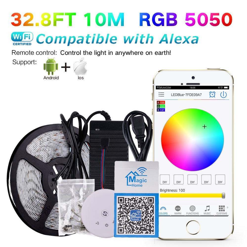 KORJO 32.8ft WiFi Led Light Strip Kit with 24V Power Supply and WiFi Remote Controller Smart Phone Controlled 5050 Led Strip Light 600LEDS Waterproof RGB Rope Light for Android, iOS and Alexa