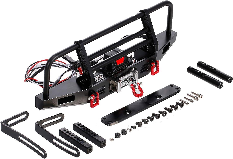 Kedelak Parachoques Delantero de Metal con cabrestante 2 Luces LED para 1//10 RC Car Crawler Compatible con Traxxas Hsp Redcat Rc4wd Axial Scx10 D90 HPI Car Upgrade