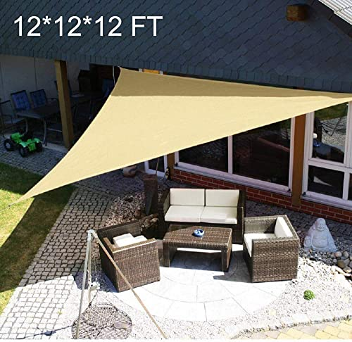 12 x 12 x 12 Sand Color Triangle Sun Shade Sail for Patio UV Block for Outdoor Facility and Activities 12 x 12 x 12 , Sand