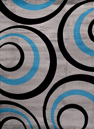T1017 Turquoise Gray 7 10 x 10 2 Modern Contemporary Area Rug Carpet