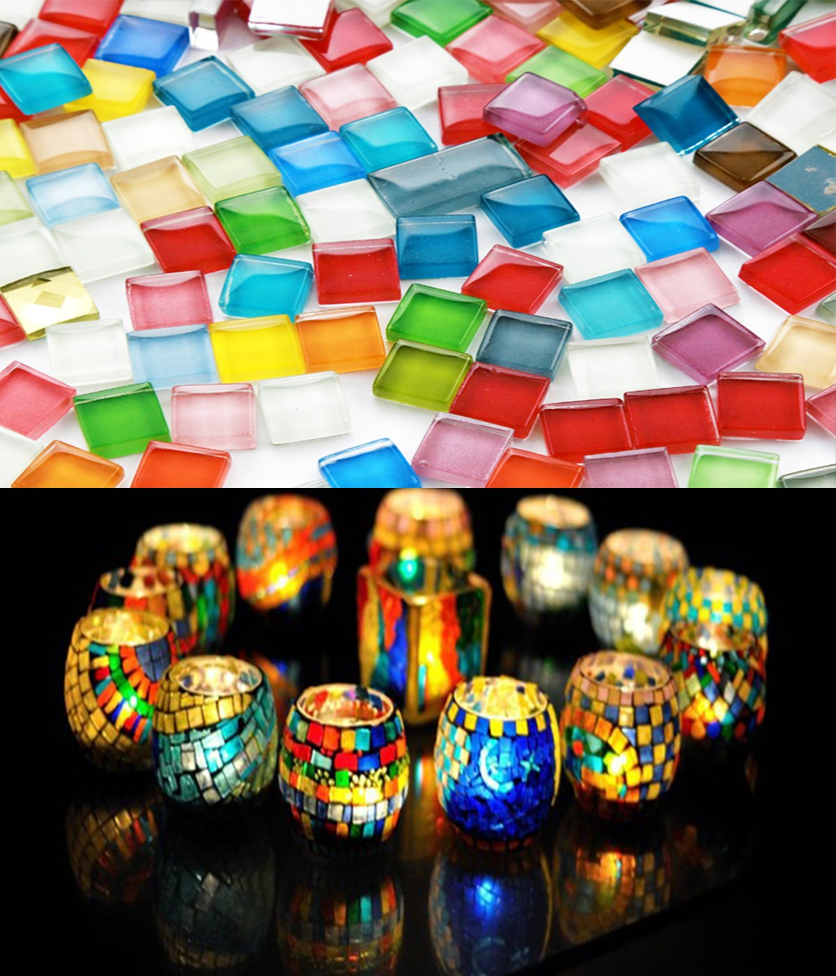 Fyess 400 Pieces Assorted Colors Mosaic Tiles Crystal Mosaic for Home Decoration Crafts Supply 4336864840