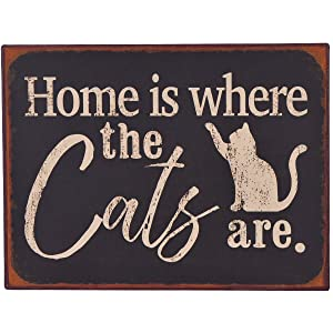 NIKKY HOME Home is Where The Cats are Rustic Metal Wall Decorative Pet Sign, Black