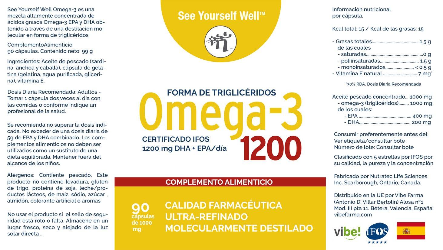 Omega 3 SYW. (90 Cápsulas de 1000 mg). Certificado IFOS. Forma Triglicérido. Altamente concentrado: 400 mg de EPA y 200 mg de DHA.
