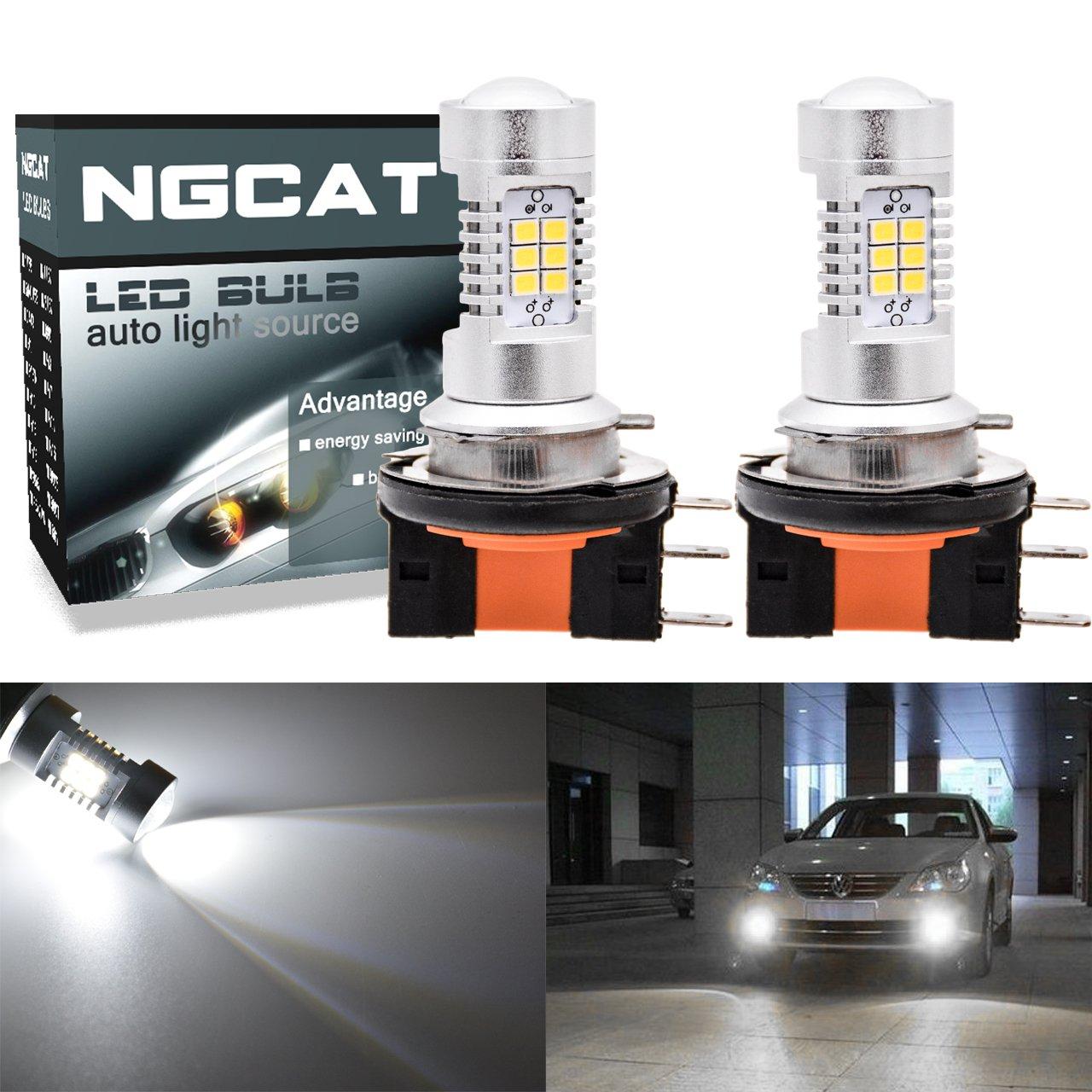 NGCAT-H15 LED Bombilla para chips de luz de niebla 2835 21 SMD con lente proyector xenón blanco, 10-16V 10,5W, (paquete de 2): Amazon.es: Coche y moto