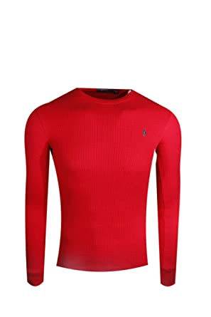 9855f81cb Polo Ralph Lauren Men's Waffle Knit Crew Neck Shirt at Amazon Men's ...