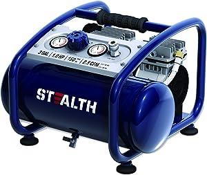 STEALTH Air Compressor, Oil-Free, and Ultra Quiet 1HP 3 Gallon Steel Tank Air Compressor, Blue-SAQ-1301
