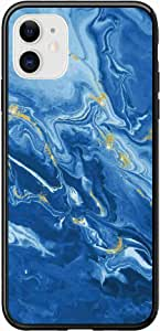 Okteq Case for iPhone 11 Case Shock Absorbing PC TPU Full Body Drop Protection Cover matte printed - blue marbile By Okteq