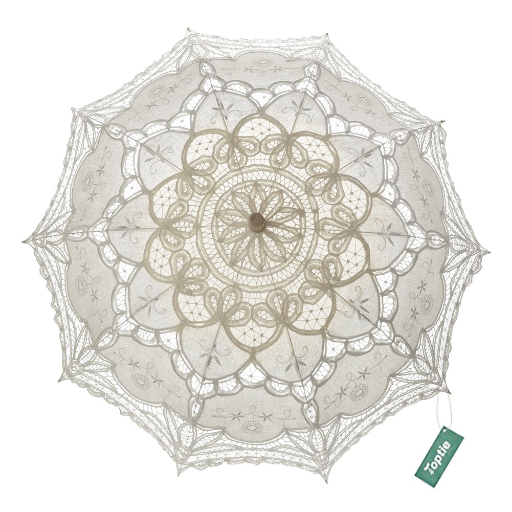 TopTie Wedding Lace Parasol Umbrella Victorian Lady Costume Accessory Photo Prop-Beige-12 pcs