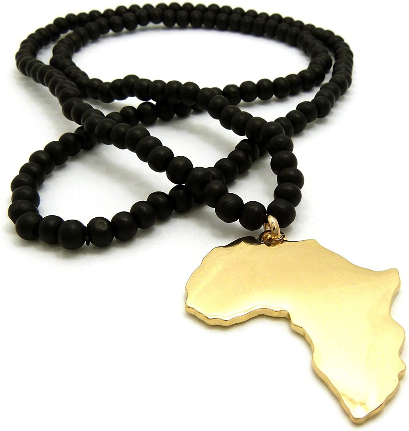 Polished Africa Map Shape Pendant 6mm 24,30 Wooden Bead Necklace in Gold Tone