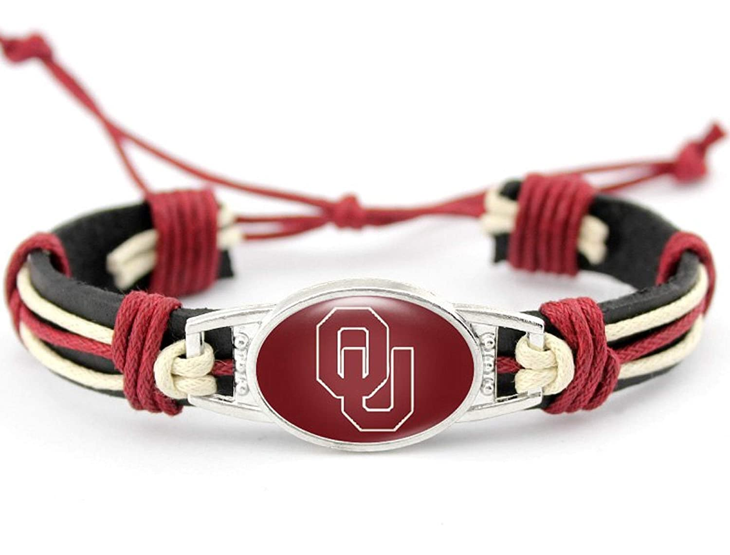 BAS Oklahoma Sooners Real Leather Adjustable Cord Tie 7 inches to 10 inches